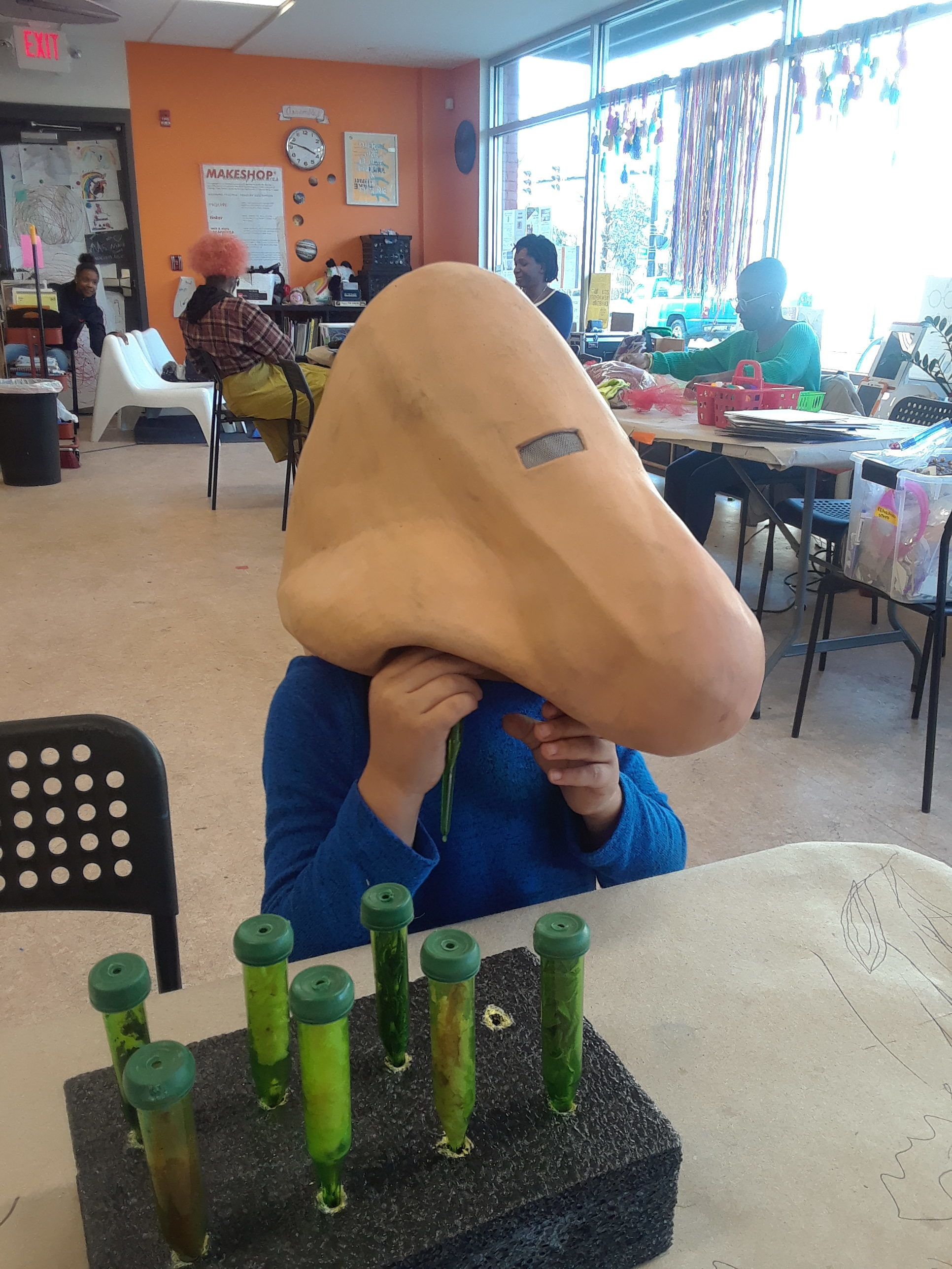 Assemble's Senses Learning Party- a giant nose takes a whiff